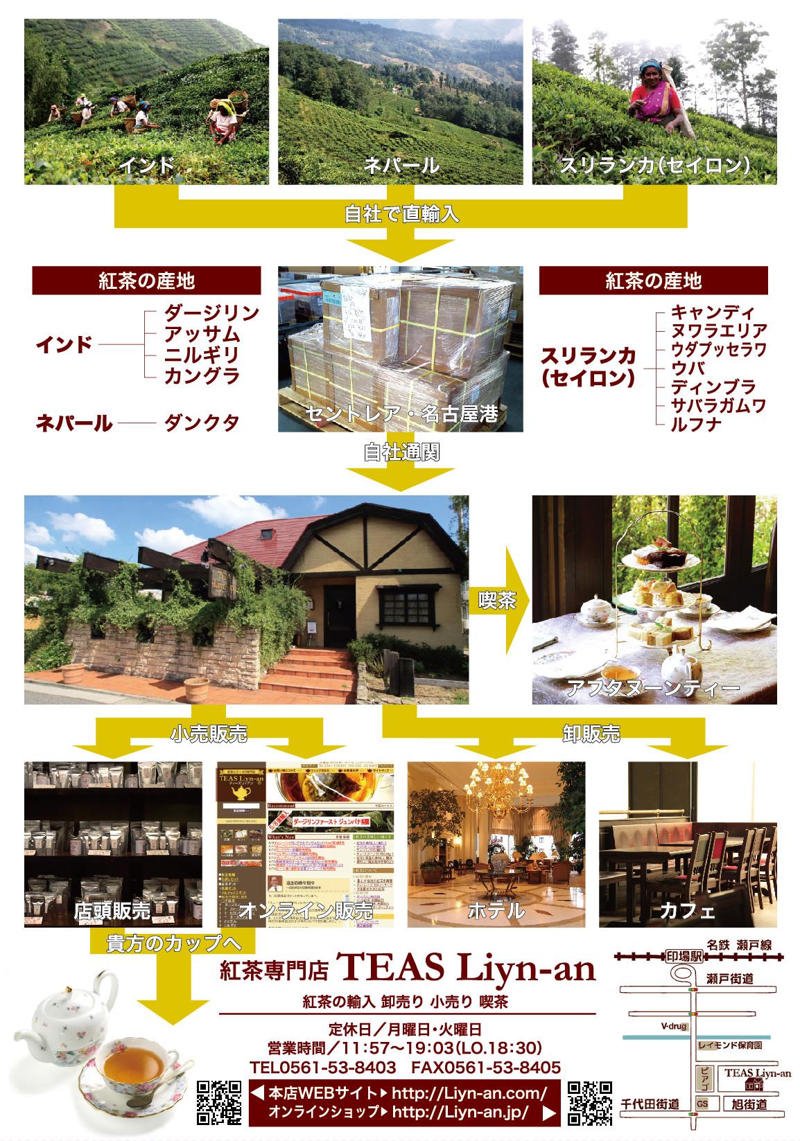 リンアンは紅茶の産地まで出かけ、自社輸入、小売り、卸し売り、喫茶まで手が手掛ける紅茶の専門店です。
